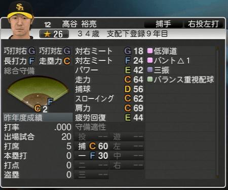 髙谷 裕亮 プロ野球スピリッツ2015 ver1.10