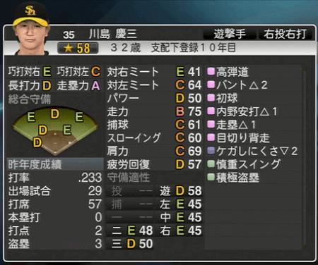 川島 慶三 プロ野球スピリッツ2015 ver1.10