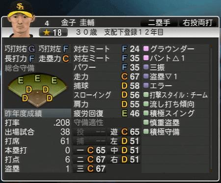 金子 圭輔 プロ野球スピリッツ2015 ver1.10