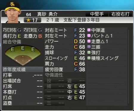 真砂 勇介 プロ野球スピリッツ2015 ver1.10