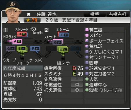 佐藤 達也 プロ野球スピリッツ2015 ver1.10