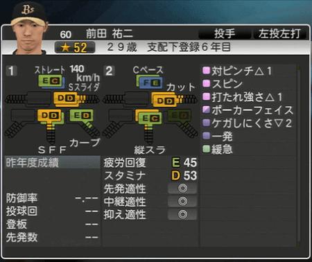 前田 祐二 プロ野球スピリッツ2015 ver1.10