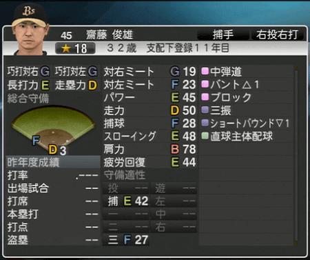 齋藤 俊雄 プロ野球スピリッツ2015 ver1.10