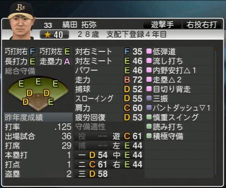 縞田 拓弥 プロ野球スピリッツ2015 ver1.10