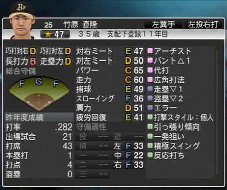竹原 直隆 プロ野球スピリッツ2015 ver1.10
