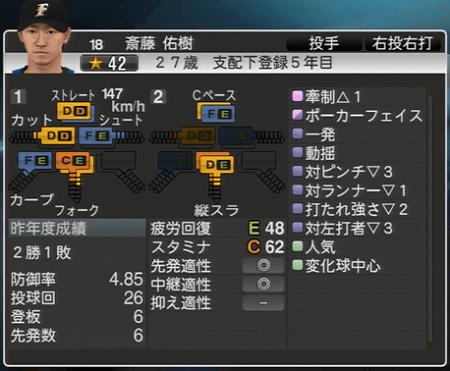 斎藤 佑樹 プロ野球スピリッツ2015 ver1.10