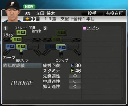 立田 将太 プロ野球スピリッツ2015 ver1.10