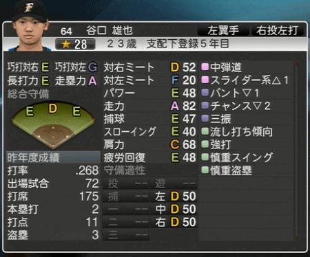 谷口 雄也 プロ野球スピリッツ2015 ver1.10