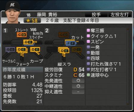 藤岡 貴裕 プロ野球スピリッツ2015ver1.10