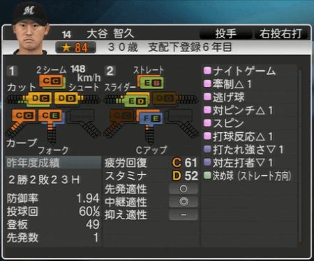 大谷 智久 プロ野球スピリッツ2015ver1.10