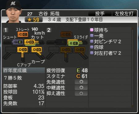 古谷 拓哉 プロ野球スピリッツ2015ver1.10