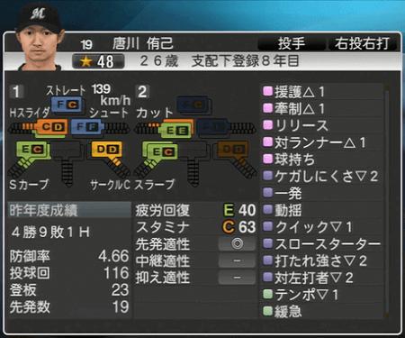 唐川 侑己 プロ野球スピリッツ2015ver1.10