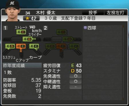 木村 優太 プロ野球スピリッツ2015ver1.10