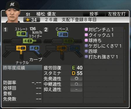 植松 優友 プロ野球スピリッツ2015ver1.10