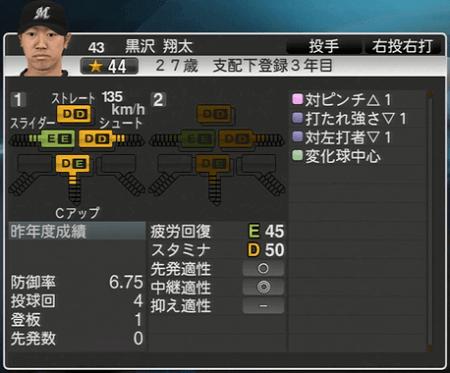 黒沢 翔太 プロ野球スピリッツ2015 ver1.10
