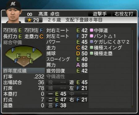 髙濱 卓也  プロ野球スピリッツ2015 ver1.10