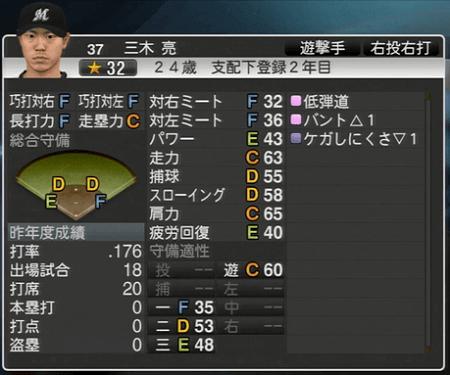 三木 亮 プロ野球スピリッツ2015 ver1.10