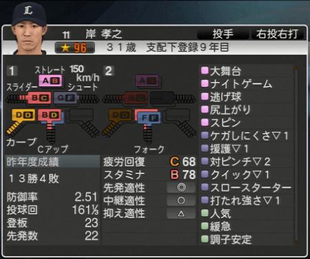 岸 孝之 プロ野球スピリッツ2015 ver1.10