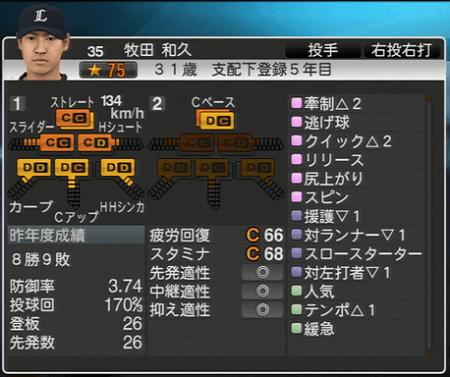 牧田 和久 プロ野球スピリッツ2015 ver1.10