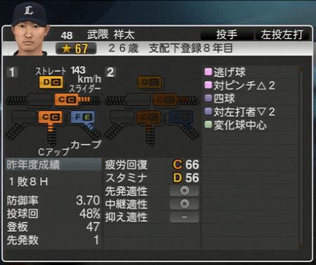 武隈 祥太 プロ野球スピリッツ2015 ver1.10