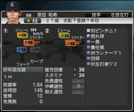 宮田 和希 プロ野球スピリッツ2015 ver1.10