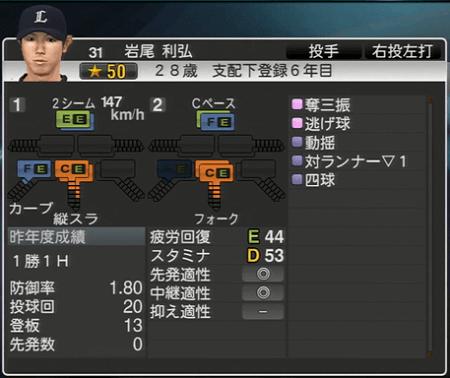 岩尾 利弘 プロ野球スピリッツ2015 ver1.10