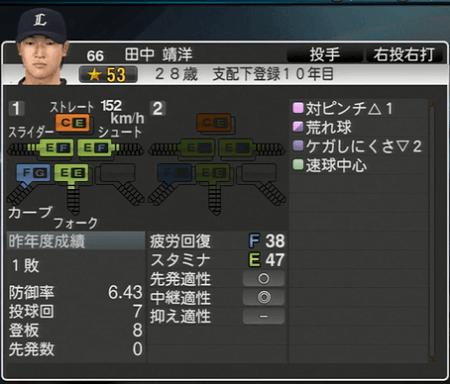 田中 靖洋 プロ野球スピリッツ2015 ver1.10