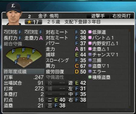 金子 侑司 プロ野球スピリッツ2015 ver1.10