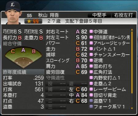 秋山 翔吾 プロ野球スピリッツ2015 ver1.10