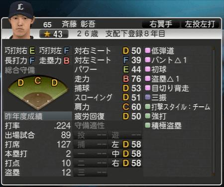 斉藤 彰吾 プロ野球スピリッツ2015 ver1.10