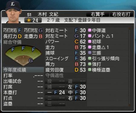 木村 文紀 プロ野球スピリッツ2015 ver1.10