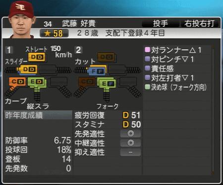 武藤 好貴 プロ野球スピリッツ2015 ver1.10