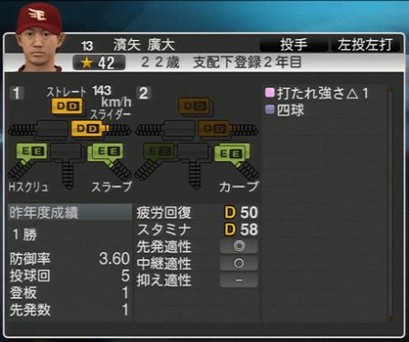 濱矢 廣大 プロ野球スピリッツ2015 ver1.10