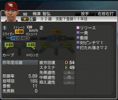 梅津 智弘 プロ野球スピリッツ2015 ver1.10