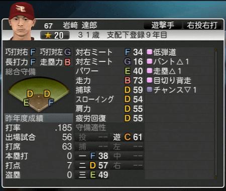 岩﨑 達郎 プロ野球スピリッツ2015 ver1.10