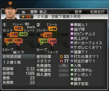 菅野智之 初期一軍登録能力一覧 プロ野球スピリッツ2015 ver1.10