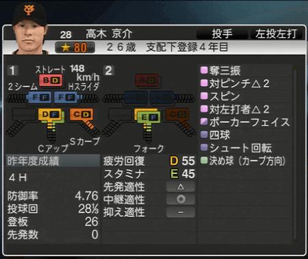 高木京介 プロ野球スピリッツ2015 ver1.10