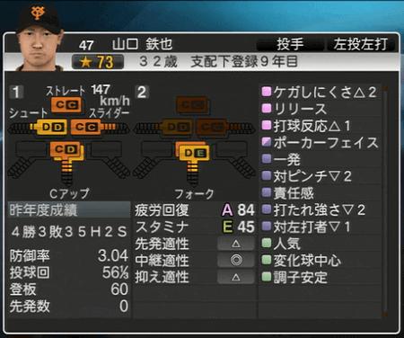 山口鉄也 プロ野球スピリッツ2015 ver1.10