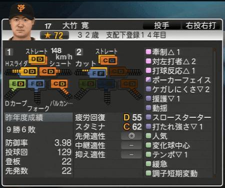 大竹寛 能力一覧 プロ野球スピリッツ2015 ver1.10