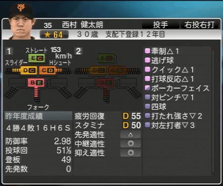 西村健太郎 能力一覧 プロ野球スピリッツ2015 ver1.10