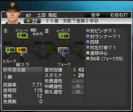 土田端起 能力一覧 プロ野球スピリッツ2015 ver1.10