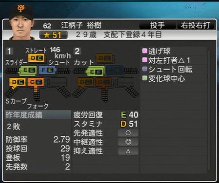 江柄子裕樹 能力一覧 プロ野球スピリッツ2015 ver1.10