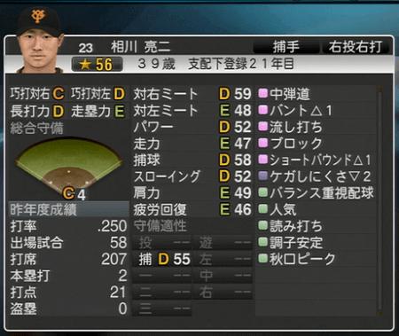 相川亮二 能力一覧 プロ野球スピリッツ2015 ver1.10