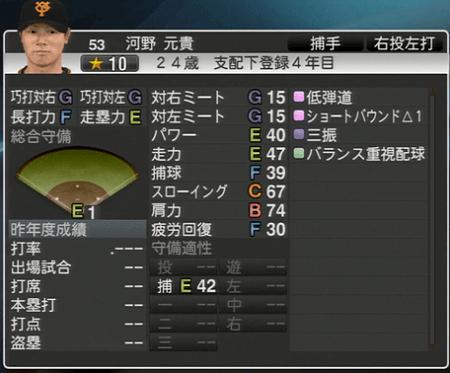 河野元貴 プロ野球 スピリッツ2015 ver1.10