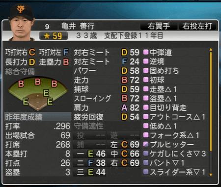 亀井善行 プロ野球スピリッツ2015 ver1.10