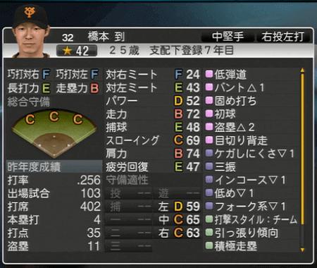 橋本到 プロ野球スピリッツ2015 ver1.10