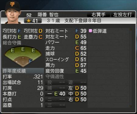 隠善智也 プロ野球スピリッツ2015 ver1.10
