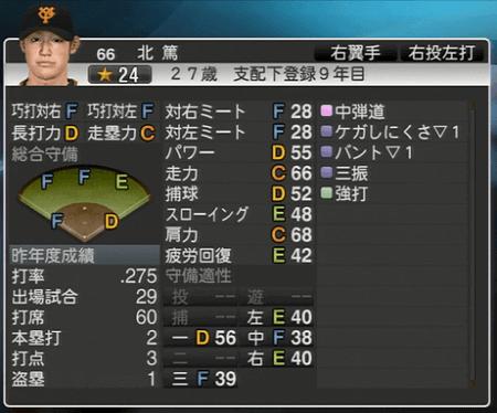 北 篤 プロ野球スピリッツ2015 ver1.10