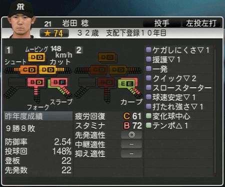 岩田稔 プロ野球スピリッツ2015 ver1.10