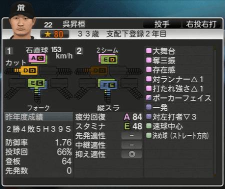 呉昇桓 プロ野球スピリッツ2015 ver1.10
